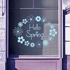 Hello Spring Time Greetings Vinyls Shop Window Display Wall Decals Stickers B15
