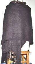 """Women's Acrylic&Rabbit Fur Trim Wrap Shaw Scarve 62""""L(one side) x27""""W Fringe 4"""""""