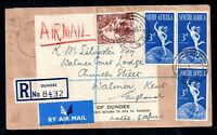South Africa 1950 Re-used Cover + G for C Variety (bottom stamp) WS16539