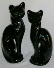 """Vtg Set of Two Porcelain Siamese Black Cat Figurines 12.5"""" & 11"""" Tall"""