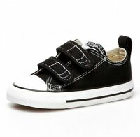 CONVERSE CT STRAP 2V OX TODDLER'S BLACK 7V603 BLACK WHITE CANVAS SHOES SNEAKERS