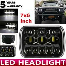 Black 5X7 7x6 LED Headlight Hi-Lo Beam Halo DRL For Jeep Wrangler YJ Cherokee XJ