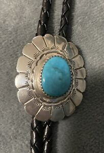 1970 Native American Sterling Silver and Turquoise Bolo Tie - From 4 Corners WOW