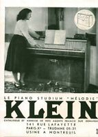 Publicité ancienne piano Klein 1950 issue de magazine