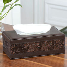 Vintage PU Leather Tissue Box Cover Pumping Paper Hotel Car Home Napkin Holder
