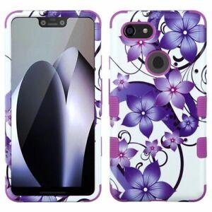 For Google Pixel 3 XL Purple Hibiscus Flower Romance Tuff Hard TPU Hybrid Case