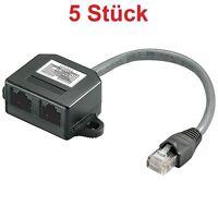 DSL LAN Netzwerk Y Kabel Verteiler 1x RJ45 Stecker IN 2x RJ 45 Kupplung OUT
