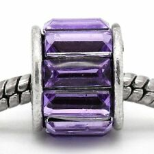 Spacer with Purple Rhinestone Charm Bead -DBC025