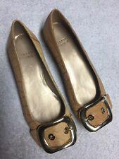 Stuart Weitzman Women's Tan Leather Slip On Buckle Toe Casual Flats Size Sz 5 M