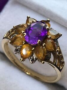 Amethyst & Cirtine 9 Carat Gold Ring, Hallmarked, UK Size O, 2.95 Grams