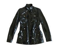 Stunning Women's JIL SANDER Designer Patent Leather Jacket Coat Black Size 36