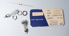 Qty(3) Alco Japan BNE-2 Panel Mount NE-2 Neon Lamps NOS With Mounting Hardware