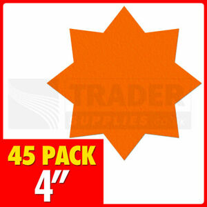 105mm Fluorescent Star Red 45 Per Pack Price Tag Cards Day Glo Neon Hi Viz