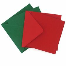"""50 x 6"""" x 6"""" RED & GREEN MIXED SQUARE BLANK CARDS ENVELOPES CHRISTMAS CRAFT 518"""