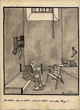 Originalzeichnung Hans Steiner Karikatur 20 / 30er Jahre Simplicissimus Knast