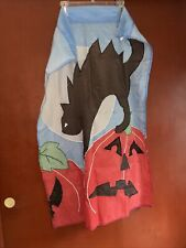 Vintage Old Halloween Black Cat Moon Pumpkin Flag Scared Antique Fabric Large