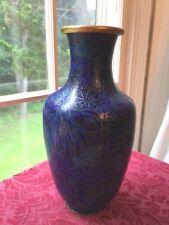 """10"""" Chinese Blue Floral Cloisonne Vase Brass Enamel Leaves Flowers Vintage"""