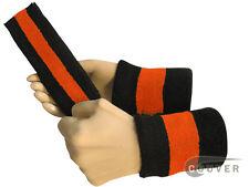 Couver Black Dark-Orange Black Striped Headband Wristband Set