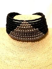 Womens Statement Black Silver Pearl Beaded Choker Necklace