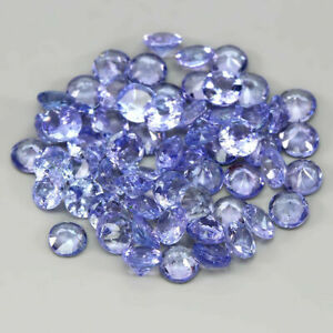 5.52 Carats 3mm 60pcs Natural Bluish Violet TANZANITE Round for Jewelry Setting