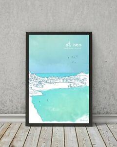 Cornish Art print - Costal Beach Holiday Poster Décor wall ST IVES PORT ISAAC