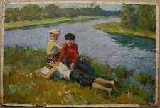 Russian Ukrainian Soviet Oil Painting impressionism Landscape children rest riv.