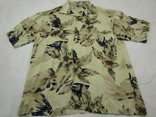 Bamboo Cay Hawaiian Men's Large Button Down Short Sleeve Beige Fit XL