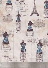 Robert Kaufman Fabrics, City of Lights, Dress Forms, Eiffel Tower, Dusty Blue