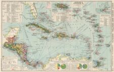 West Indies & Central America. Commercial. Agricultural products 1925 old map