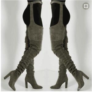 Sexy Womens Mens Winter Club Thigh High Boots With Belt Stilettos Shoes Big Size
