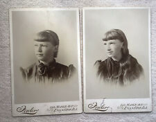 Two Cabinet Photos Girls Sisters? Lds Mormon Utah Norway Evanston Ill 1900s
