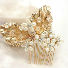 Bridal Comb Leaves Pearls Crystals Hair Barrette Gold tone 3.25 * STUNNING!
