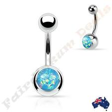 with Aqua Glitter Imitation Opal 316L Surgical Steel Silver Belly Ring