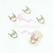 20 Necklace Style Clear Rhinestones Gold Metal Nail Art Charms Crafts DIY Decor