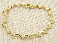 .925 Sterling Silver Gold Vermeil White Beryl Goshenite Tennis Bracelet