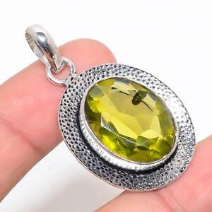 "Oval Shape Lemon Topaz 925 Sterling Silver Pendant 2"" KP-6293"