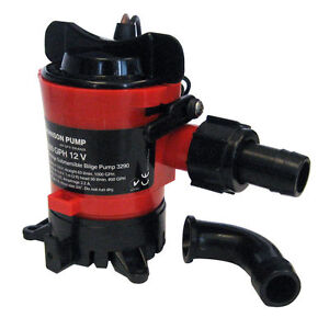 "Johnson Pump 500 GPH Bilge Pump 3/4"" Hose 12V Dura Ports and Check Valve 32502"