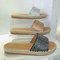Womens Ladies Slip On Ladies Flat Diamante Sliders Summer Sandals Mules Size