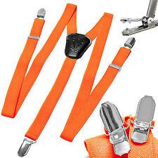 New Y back Kid's Boy's Suspender Braces adjustable strap clip on casual orange