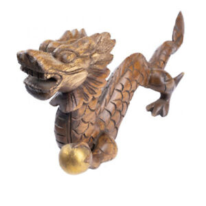 Wooden Dragon Hand Carved Ornament Home Decor.