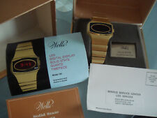 Vintage Wells Texas Instruments LED watch gold filled full set