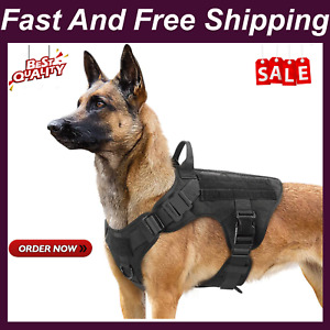Rabbitgoo Tactical Dog Harness Vest Large With Handle, Military Working Dog Moll