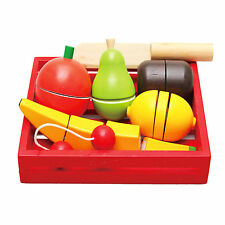Wooden Fruit Role Playing Toy Pretend Play Kids Kitchen & Wooden Fruit Tray