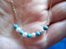 PRETTY, DELICATE STERLING SILVER, FAUX PEARL & TURQUOISE GLASS  CHAIN NECKLACE