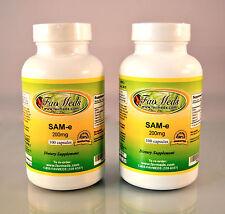 SAM-e, SAMe 200mg, Depression, bone health, Made in USA - 200 Capsules (2x100)