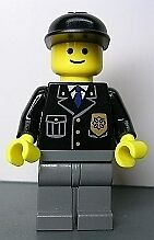 LEGO Minifigure - COP048 - Police - City Suit with Blue Tie and Badge, Black Cap