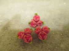 33 ~15 mm  Two Tone Pink Fimo Clay Flower & Leafs Beads Flower Cluster   E15