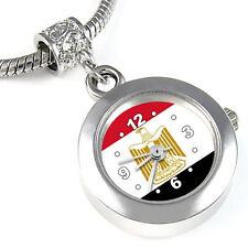 Egypt Flag Silver European Spacer Charm Bead Quartz Watch For Bracelet EBA254