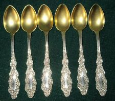 Roden Bros. Luxembourg Pattern Antique Sterling Silver Gold Wash 6 Tea Spoons