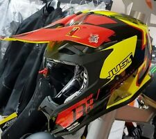 CASCO JUST1 J32 Pro CROSS ENDURO MOTARD Kick Black-Red-Giallo TAGLIA L 59/60